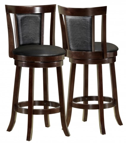 "1288 Black / Cappuccino Wood 39"" Swivel Counter Stool Set of 2"