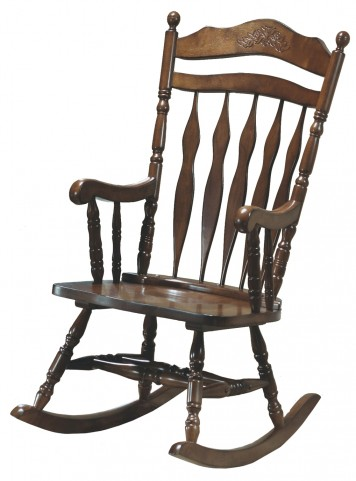 1521 Dark Walnut Embossed Back Rocking Chair