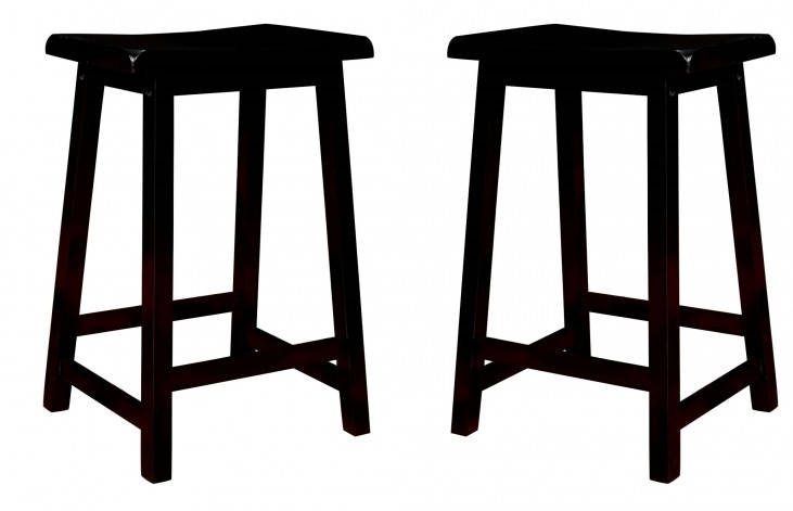 "1531 Black 24"" Saddle Seat Barstools Set of 2"