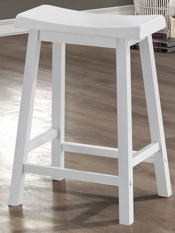 "24"" Saddle Seat White Barstools Set of 2"