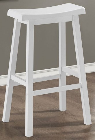 "29"" Saddle Seat White Barstools Set of 2"