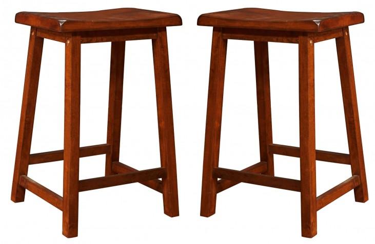 """1541 Walnut 24"""" Saddle Seat Barstools Set of 2"""
