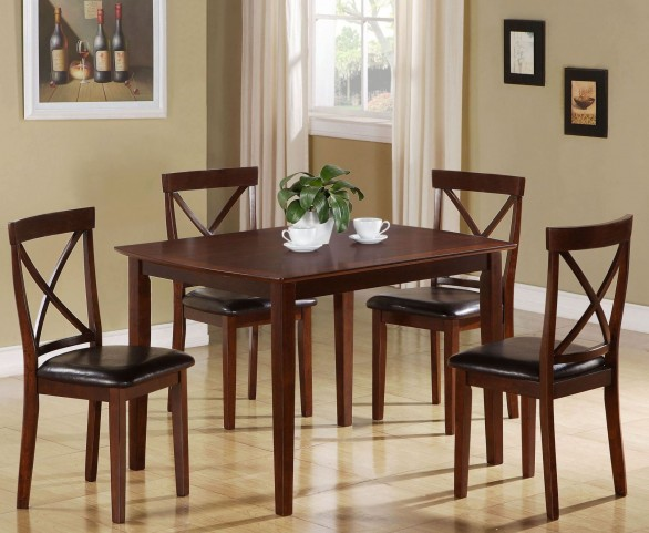 5 Piece Dark Cappuccino Birch Dining Set