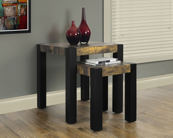 2 Piece Distressed Black Nesting Table Set