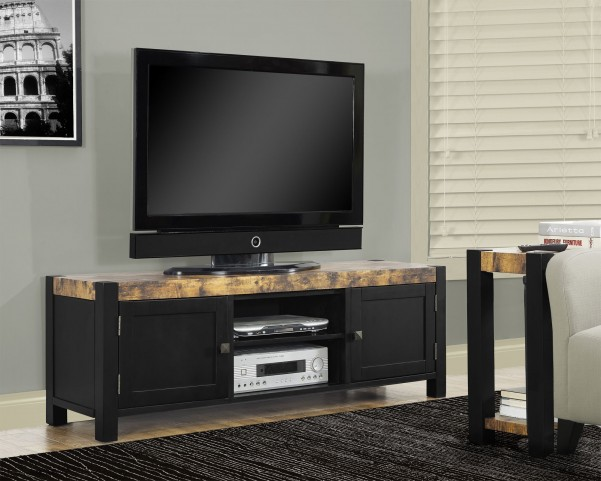 Distressed Black TV Console