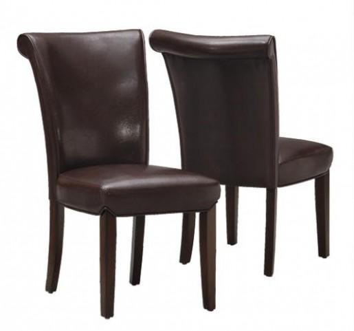 1665BR Dark Brown Side Chair Set of 2