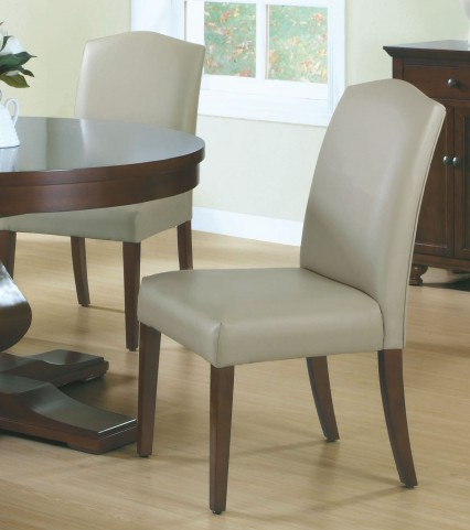 """Tan Bonded Leather 38"""" Dining Chair Set of 2"""