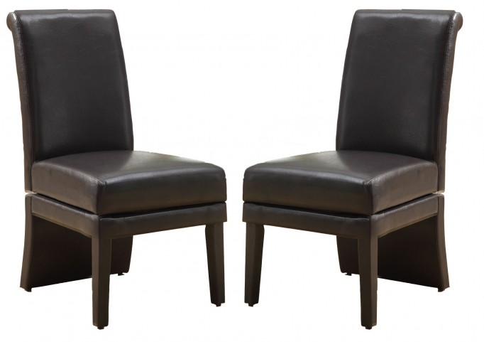 1707BR Dark Brown Swivel Side Chair Set of 2
