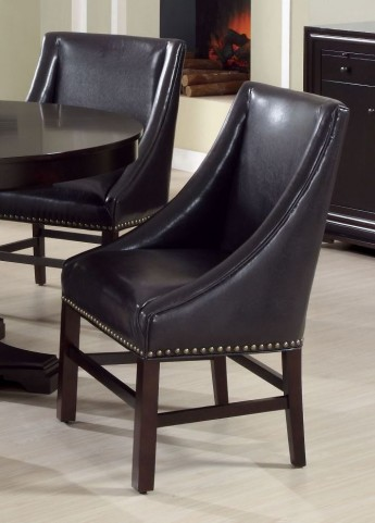 "Dark Brown Bonded Leather 38"" Dining Chair Set of 2"