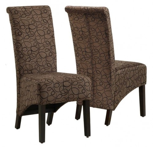 1788BR Brown Swirl Fabric Side Chair Set of 2