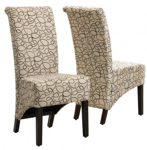 1789TN Tan Swirl Fabric Side Chair Set of 2