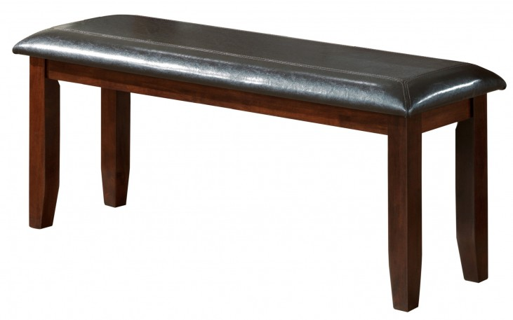 "1828 Dark Espresso / Brown Leather-Look 48""L Bench"