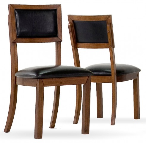 1857 Dark Acacia / Black Side Chair Set of 2