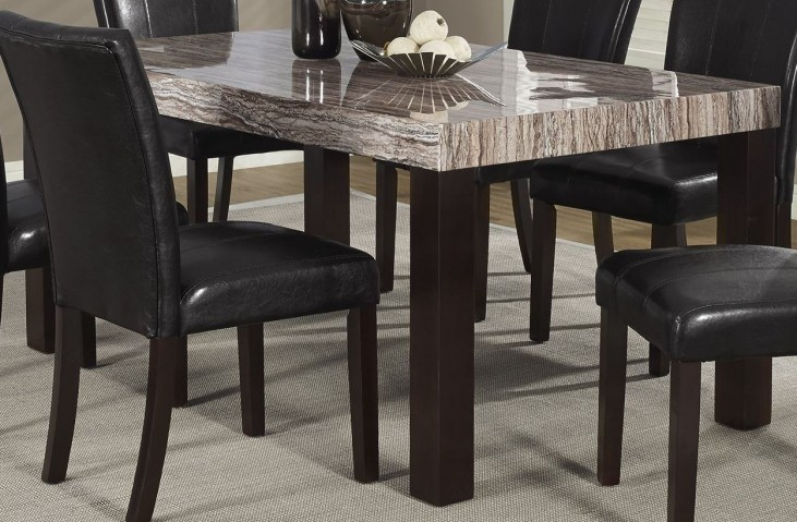 Lacquered Marble-Look Brown Tone Dining Table