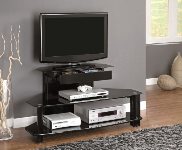 "2000 Glossy Black Wood / Metal 48"" TV Console"