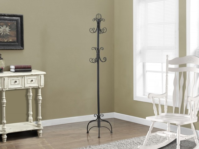 "Hammered Black Metal 72"" Coat Rack"
