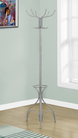 "Silver Metal 70"" Coat Rack"