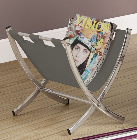 Gray Leather Magazine Rack