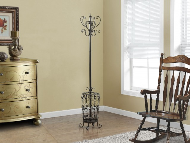 "Brown Metal 72"" Coat Rack"