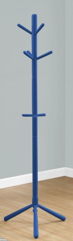 "Blue Wood 69"" Coat Rack"