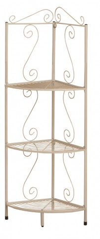 "2102 White Hammered Metal 48"" Corner Display Etagere"