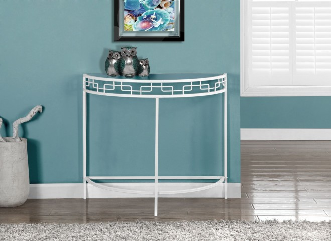 White Metal Hall Console Accent Table