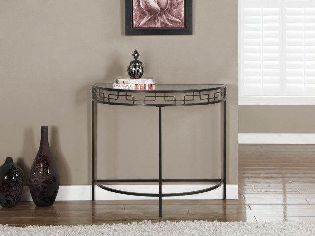Warm Chocolate Brown Metal Hall Console Accent Table
