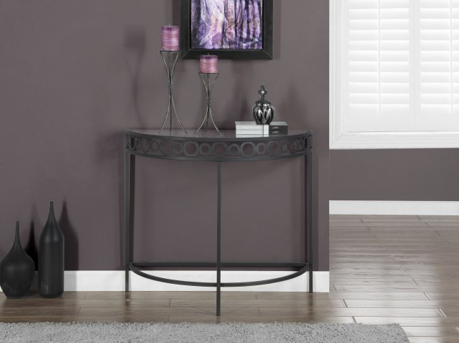 Charcoal Gray Metal Hall Console Accent Table