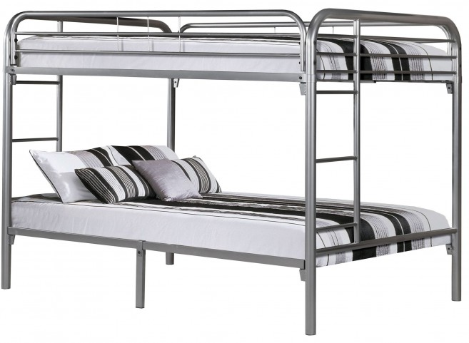 Silver Metal Full Over Full Bunk Bed