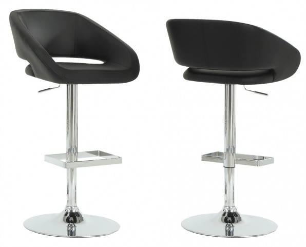 2305 Black / Chrome Metal Hydraulic Lift Barstool