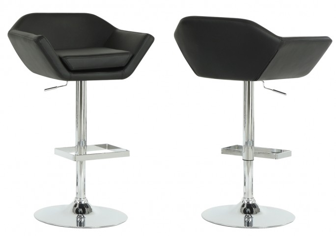 2307 Black / Chrome Metal Hydraulic Lift Barstool Set of 2
