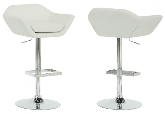 2308 White / Chrome Metal Hydraulic Lift Barstool Set of 2