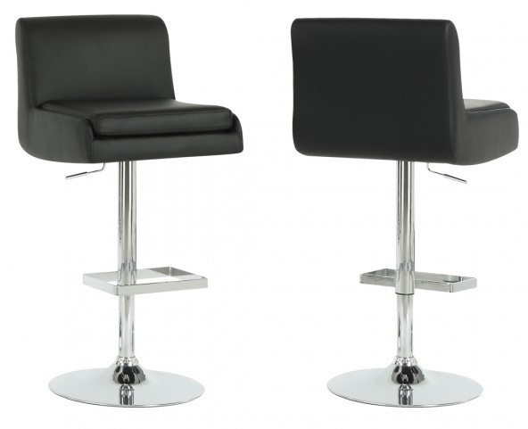 2316 Black / Chrome Metal Hydraulic Lift Barstool Set of 2