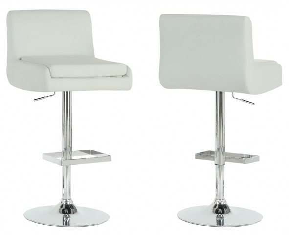 2317 White / Chrome Metal Hydraulic Lift Barstool Set of 2