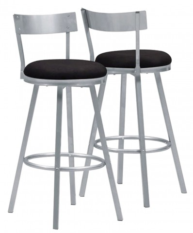 "2332 Silver Metal 43"" Swivel Barstool Set of 2"