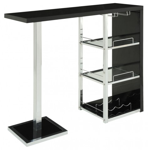 2342 Glossy Black / Chrome Metal Bar Table