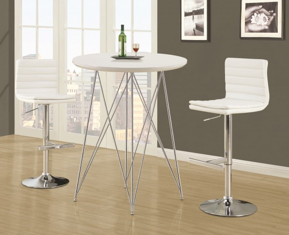 2346 Glossy White / Chrome Metal Bar Set