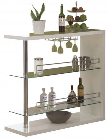2350 White Glossy / Chrome Metal Bar Table