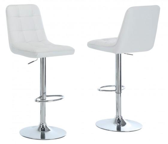 2353 White / Chrome Metal Hydraulic Lift Barstool Set of 2