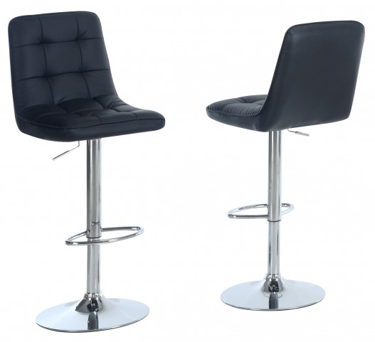 2354 Black / Chrome Metal Hydraulic Lift Barstool Set of 2
