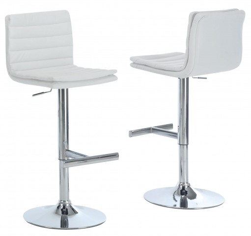 2355 White / Chrome Metal Hydraulic Lift Barstool Set of 2