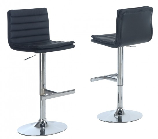 2356 Black / Chrome Metal Hydraulic Lift Barstool Set of 2