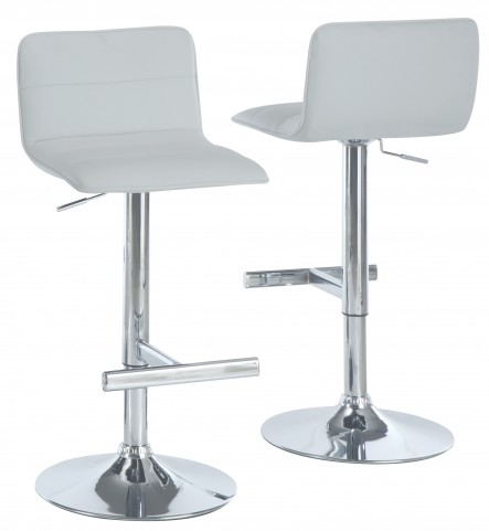 2365 White / Chrome Metal Hydraulic Lift Barstool Set of 2