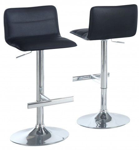2366 Black / Chrome Metal Hydraulic Lift Barstool Set of 2