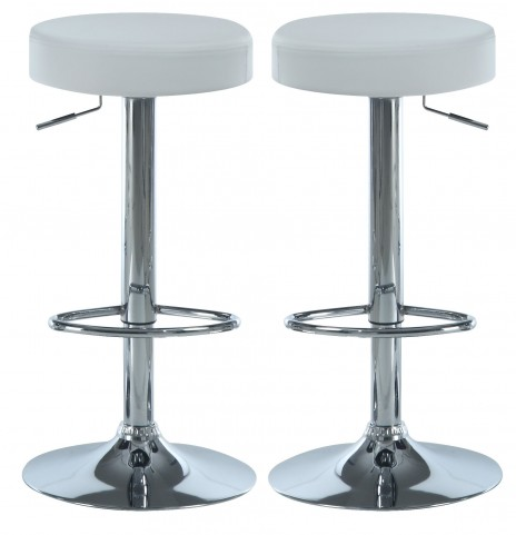 2368 White / Chrome Metal Hydraulic Lift Barstool Set of 2