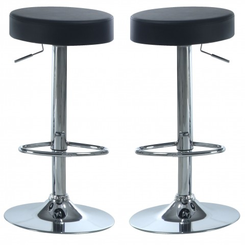 2369 Black / Chrome Metal Hydraulic Lift Barstool Set of 2