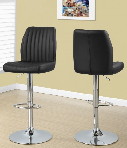 Black Chrome Hydraulic Lift Barstool Set of 2