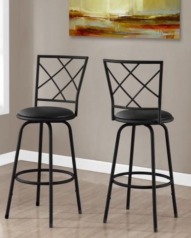 Black Leather Barstool Set of 2