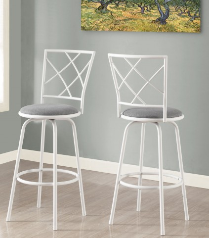 Gray Fabric Seat Barstool Set of 2