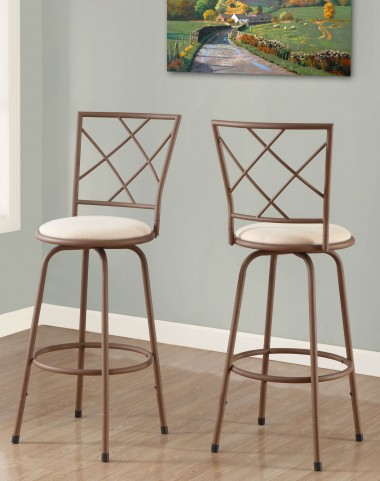 Beige Fabric Seat Barstool Set of 2